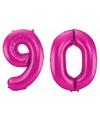 Cijfer 90 ballon roze 86 cm