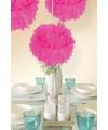Decoratie pompom neon roze