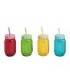 Drinkbeker glas potje met rietje handvat