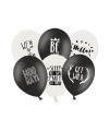 Feestballonnen zwart en wit 6 stuks