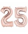Folie ballon cijfer 25 rose goud
