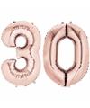 Folie ballon cijfer 30 rose goud