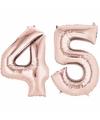 Folie ballon cijfer 45 rose goud