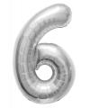 Folie ballon cijfer 6 zilver