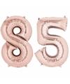 Folie ballon cijfer 85 rose goud