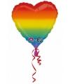 Folie ballon regenboog hart 43 cm