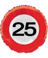 Folie ballon verkeersbord 25 jaar