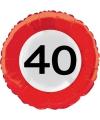 Folie ballon verkeersbord 40 jaar