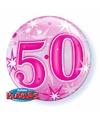 Folie helium ballon 50 jaar roze 55 cm