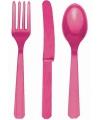 Fuchsia roze bestek setje 30 delig