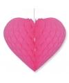 Fuchsia roze decoratie hart 15 cm