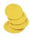 Gele wegwerp bordjes met witte stippen 8x