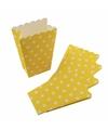 Gele wegwerp popcornbakjes met witte stippen 8st