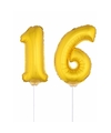Gouden opblaas cijfer 16 op stokjes