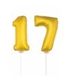 Gouden opblaas cijfer 17 op stokjes