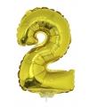 Gouden opblaas cijfer 2 op stokje 41 cm