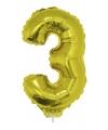 Gouden opblaas cijfer 3 op stokje 41 cm