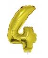 Gouden opblaas cijfer 4 op stokje 41 cm