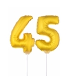 Gouden opblaas cijfer 45 op stokjes