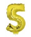 Gouden opblaas cijfer 5 op stokje 41 cm