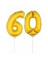 Gouden opblaas cijfer 60 op stokjes
