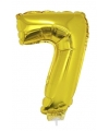 Gouden opblaas cijfer 7 op stokje 41 cm