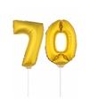 Gouden opblaas cijfer 70 op stokjes