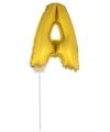 Gouden opblaas letter a op stokje 41 cm