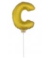 Gouden opblaas letter c op stokje 41 cm
