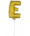 Gouden opblaas letter e op stokje 41 cm