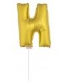 Gouden opblaas letter n op stokje 41 cm