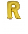 Gouden opblaas letter r op stokje 41 cm