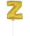 Gouden opblaas letter z op stokje 41 cm
