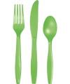 Groen plastic bestek 24 delig