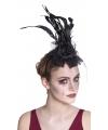 Halloween haarband zwarte roos met sluier