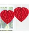 Hangdecoratie hart rood 30 cm