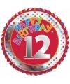 Happy birthday 12 jaar folie ballon