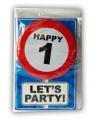 Happy birthday kaart met button 1 jaar