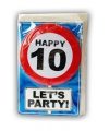 Happy birthday kaart met button 10 jaar