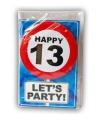 Happy birthday kaart met button 13 jaar