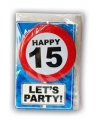 Happy birthday kaart met button 15 jaar
