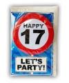 Happy birthday kaart met button 17 jaar