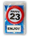 Happy birthday kaart met button 23 jaar