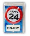 Happy birthday kaart met button 24 jaar