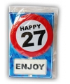 Happy birthday kaart met button 27 jaar