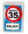 Happy birthday kaart met button 35 jaar