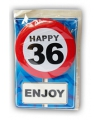 Happy birthday kaart met button 36 jaar