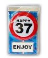 Happy birthday kaart met button 37 jaar