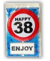 Happy birthday kaart met button 38 jaar
