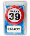 Happy birthday kaart met button 39 jaar
